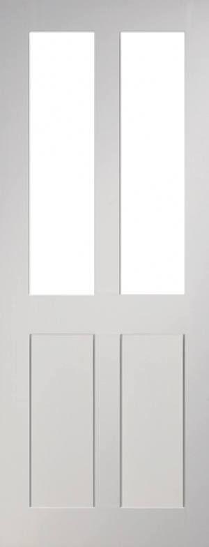Eton Glazed 4 Panel White Primed Door Image £111