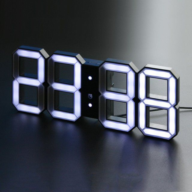 White White Digital Led Clock Black Kibardindesign White