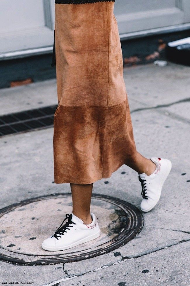 New York Fashion Week Spring Summer 2016 Street Style Suede Skirt Isabel Marant Bart Sneakers 790x1185