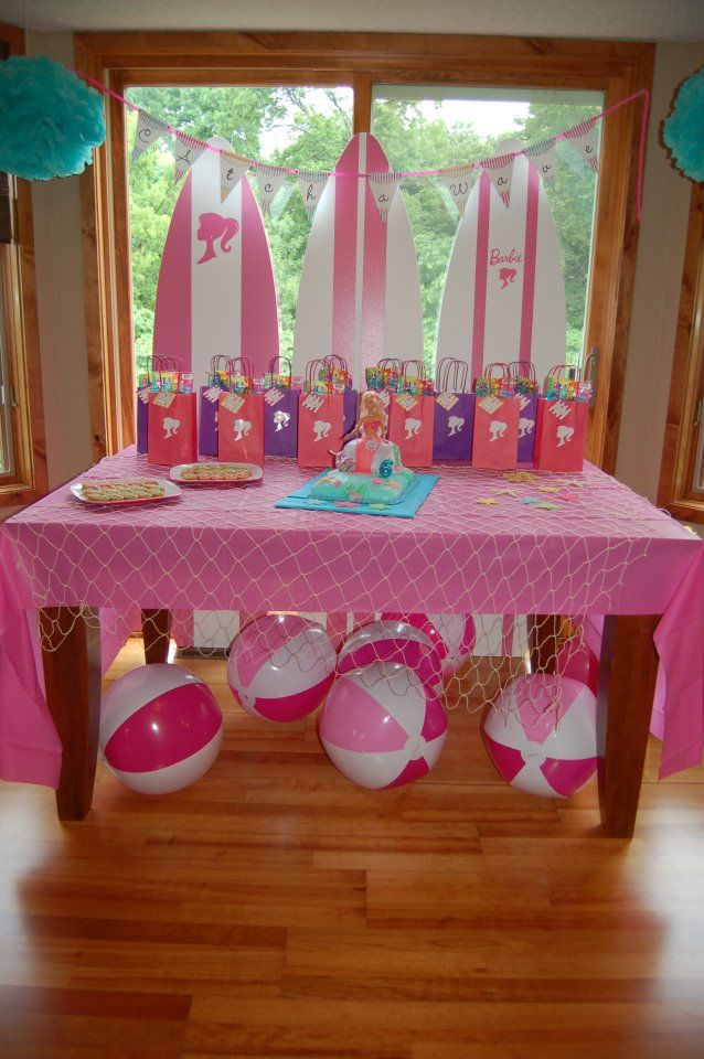 For a pool party use Large Beach balls as decor! barbie birthday. Pres is having a pool party.