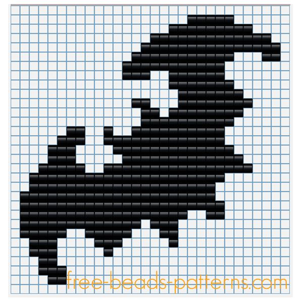 Halloween bat free perler beads Pyssla pattern for children