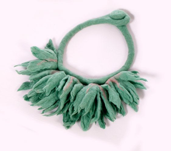 Felted Flower Necklace Choker felt collar boho wool by EsartFelt, $49.00