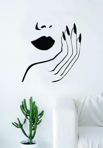 Lips and Nails Wall Decal Sticker Vinyl Room Decor Art Girls Stylist Logo Female Hair Spa Shop Beauty Salon Make Up