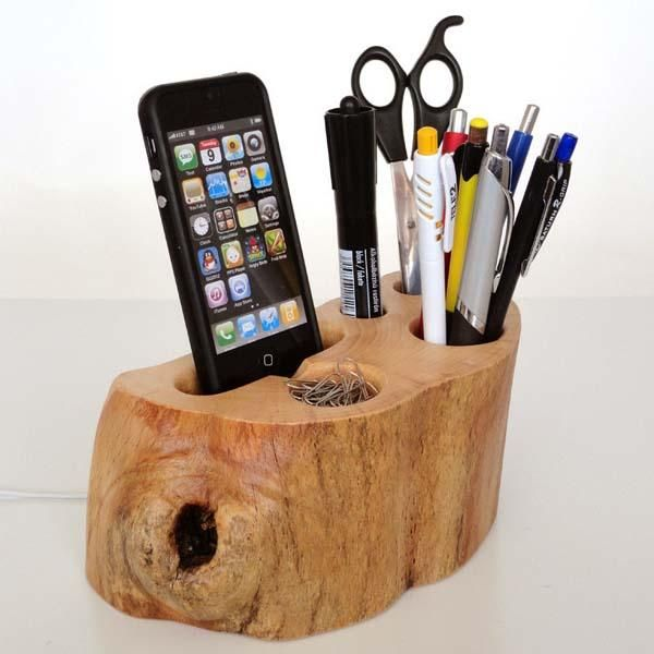 IPhone Dock + Office Organizer (iPhone 4, IPhone 5 Charging Station From  Rustic Wood + Pen Holder / Paper Clips Holder...)   Unique Gift