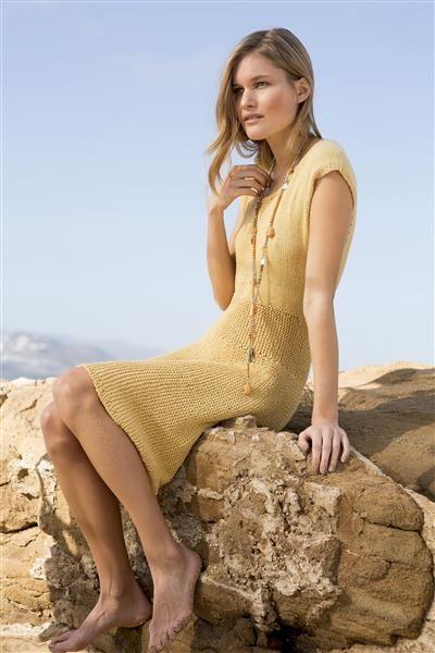 1405: Modell 10 Kjole med skjørt strikket på tvers #strikk #line #bomull