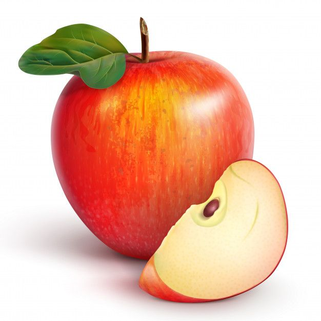 Red Apple With A Slice Red Apple Fruit Cartoon Fruit Vector