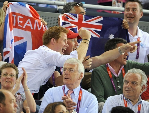 Prince Harry and Peter PhillipsLondon 2012 Olympic Games at the Velodrome