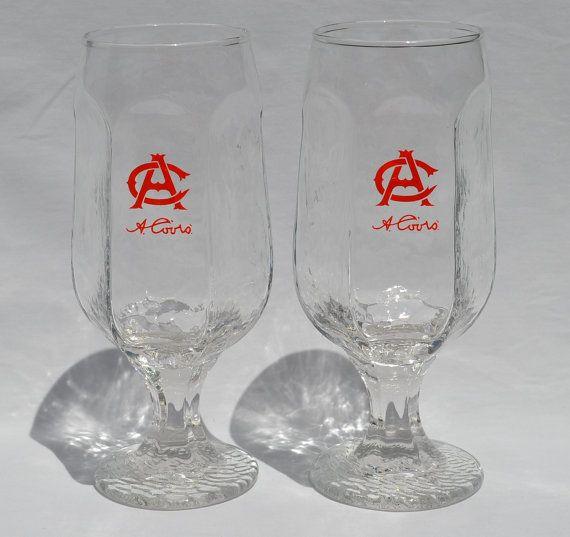 Set of 2 Vintage Coors Stemmed Beer Glasses