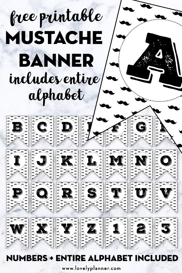 Mustache Alphabet Banner Free Printable Letters Numbers Free