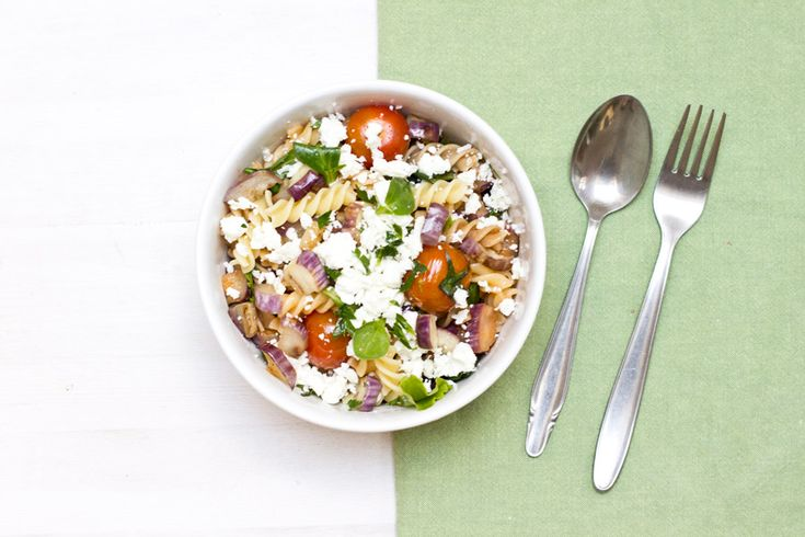 For an easy and quick office lunch whip up this delicious and healthy eggplant pasta salad   full recipe on the blog