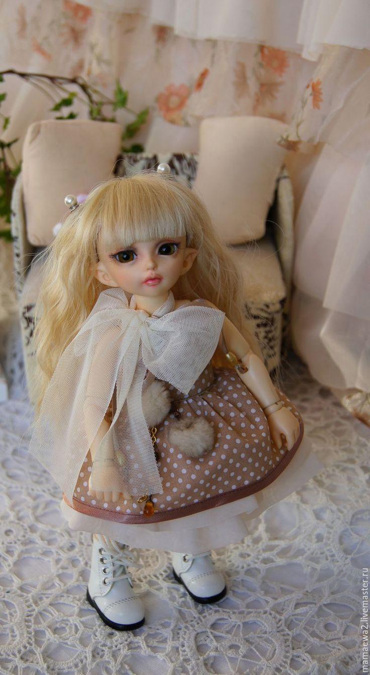 Купить Горошинка ) - бежевый, платье, красивое платье, одежда для кукол, кукла, bjd, шифон