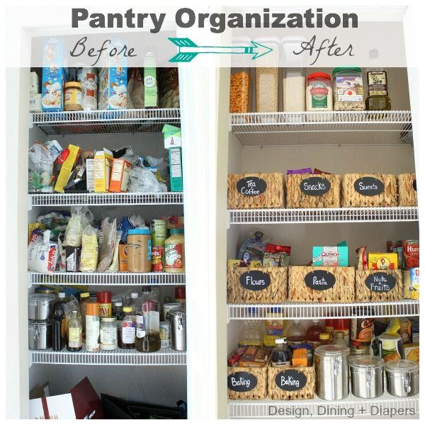 Pantry Before and After by Design, Dining + Diapers! Great organization ideas!