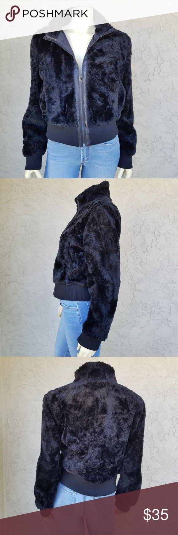 Coffee Shop Black Faux Fur Full Zip Bomber Jacket Black