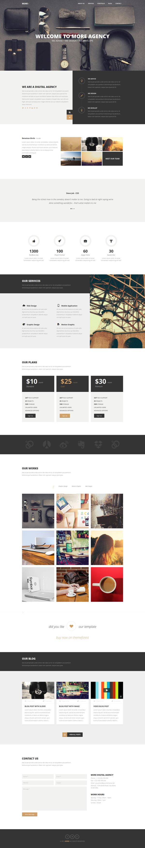 MORE - Creative One Page WordPress Theme by Themes Awards, via Behance