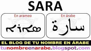 Tu nombre en Arameo y en Arabe: Sara