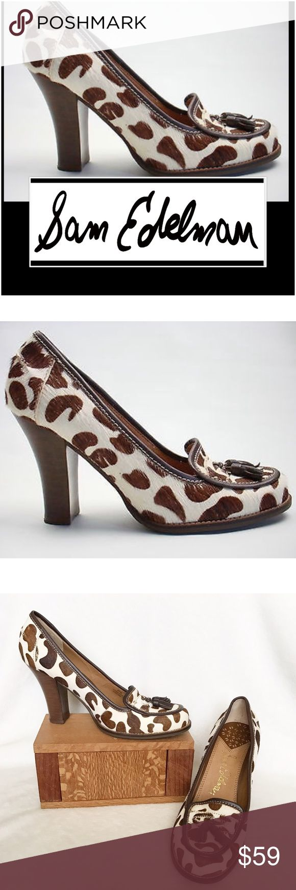 SAM EDELMAN LEOPARDPRINT COWHIDE CHUNKYHEEL PUMPS SAM EDELMAN LEOPARD PRINT COWHIDE CHUNKY HEEL CLASSIC TASSLE PUMP . The Classic leopard ? print in pony hair cowhide makes these Classic style pumps a wonderful addition to your closet .The stacked wooden heel is 3.75 approx measured from the back of the heel A 100% Leather upper with a rubber sole . Size 8.5 M . Preloved worn once in excellent condition. The only flaws are on the inside I had insoles that I removed and they removed a bit of…