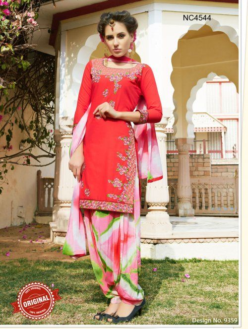 Red & Pink Semi Cotton Patiala Suit
