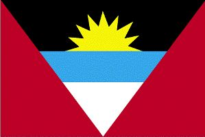 Antigua Flag Description:  Red, with an inverted isosceles triangle based on the top edge of the flag; the triangle contains three horizontal bands of black (top), light blue, and white, with a yellow rising sun in the black ban.