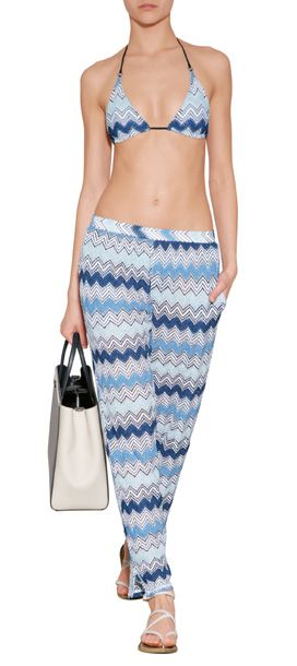 Make a bold spring debut in these vivid tonal blue knit pants from Missoni Mare #Stylebop