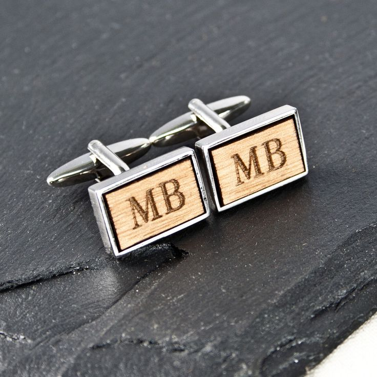Personalised Rectangle Wooden Cufflinks - yourgifthouse