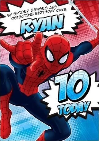 Card | Ultimate Spiderman - Age 10 Birthday | Funky Pigeon