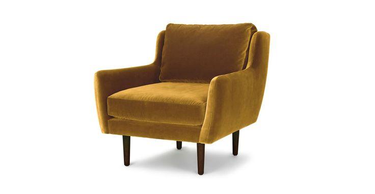 Gold Velvet Chair Walnut Wood Legs Article Matrix