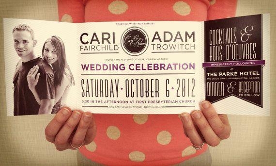 Custom Fold Wedding Invitation- Banner Style, Cheap Invitations, Complete Suite, Unique Wedding Invite, Wedding Design,  Custom Invitation on Etsy, $2.25