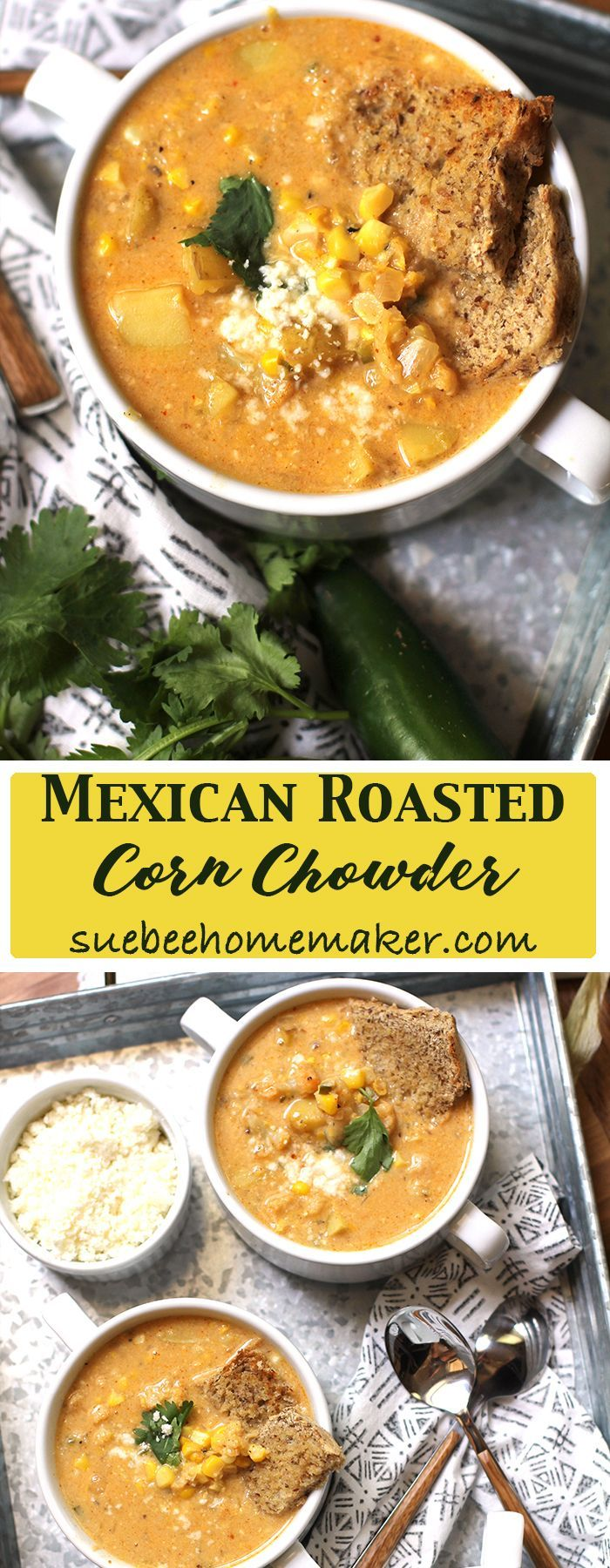 Mexican Roasted Corn Chowder combines roasted corn, potatoes, and cauliflower - and is flavored with spicy ingredients including jalapeños and spices. SO good!!