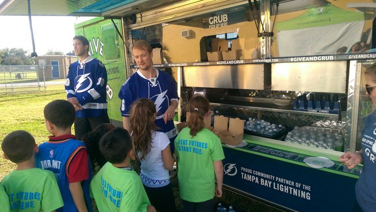 Special appearances from the Tampa Bay Lightning's Ben Bishop and Anton Stralman were a HUGE hit with the kids at our #GiveAndGrub #GiveBack Event at the Boys & Girls Club of the Suncoast in Pinellas Park.