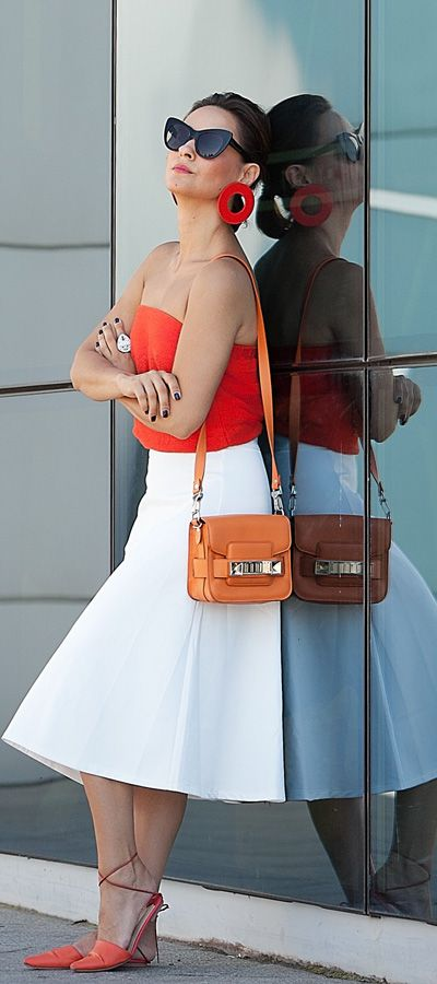 white skirt outfits | proenza schouler ps 11 bag | summer outfit ideas | chic styles | statement earrings outfits