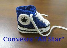 """Tutorial Uncinetto Scarpine Bebè Modello Converse """"All Star"""" V Parte #1#"""