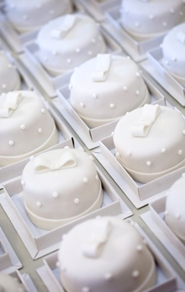 White petite fours. White on white, what more can we say. Gorgeous.