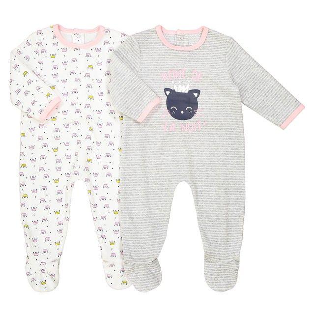 f5f864629a5a2 Lot de 2 pyjamas velours 0 mois - 3 ans oeko tex La Redoute Collections ecru  + gris chiné
