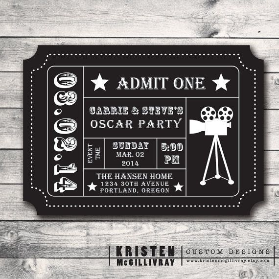 Oscar Party Ticket Invitation- DIY Digital File Printable - Admission Ticket Stub- on Etsy, $15.00