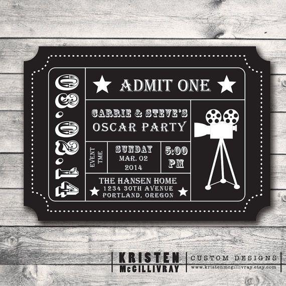 Oscar Party Ticket Invitation- DIY Digital File Printable - Admission Ticket Stub- on Etsy, $15.00