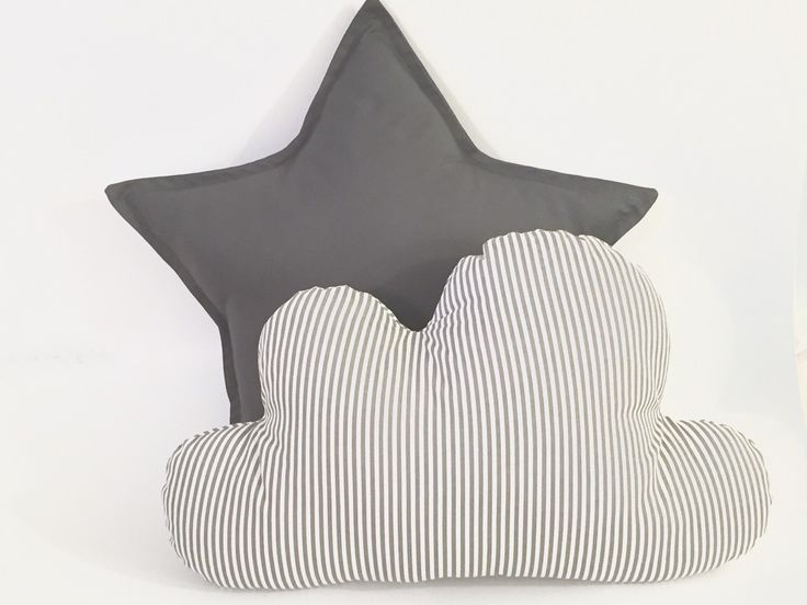 A personal favorite from my Etsy shop https://www.etsy.com/il-en/listing/270474685/cloud-and-star-pillow-set-grey-stripes