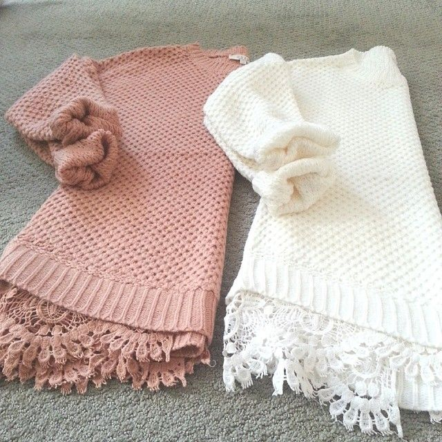 cute & cozy sweaters. Love the lace underneath and the colors. Would look…