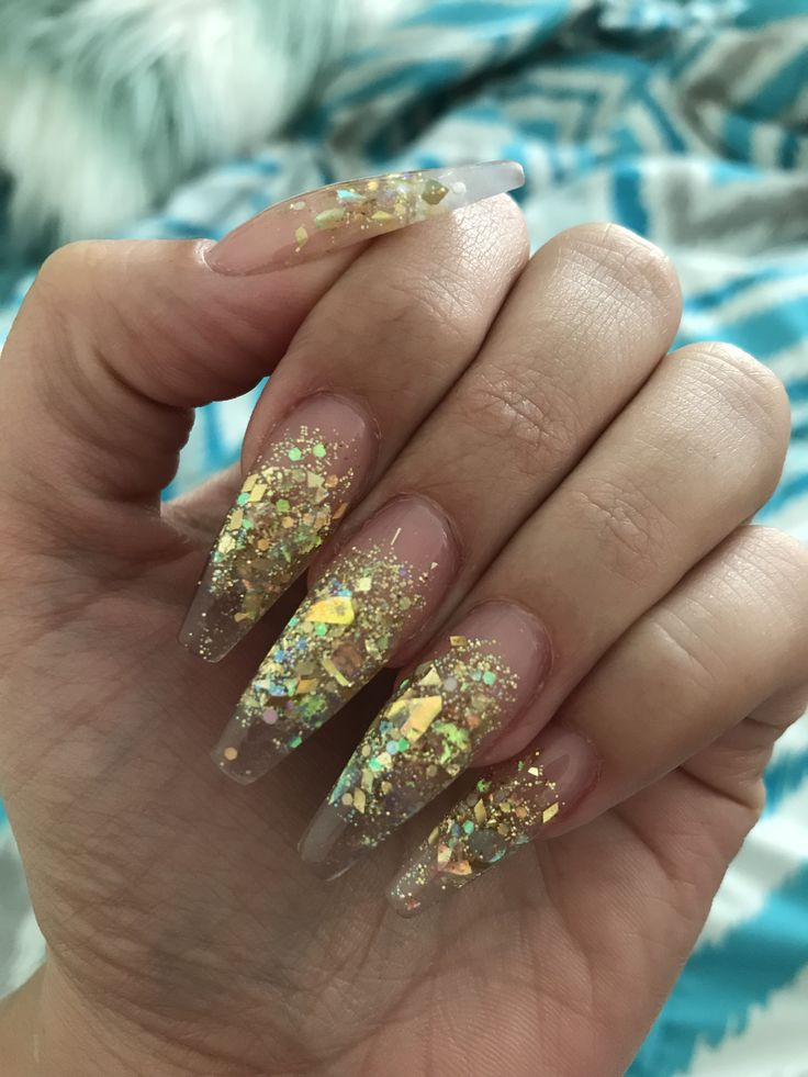 Gold Sparkle Acrylic Nails Best Nail Designs 2018