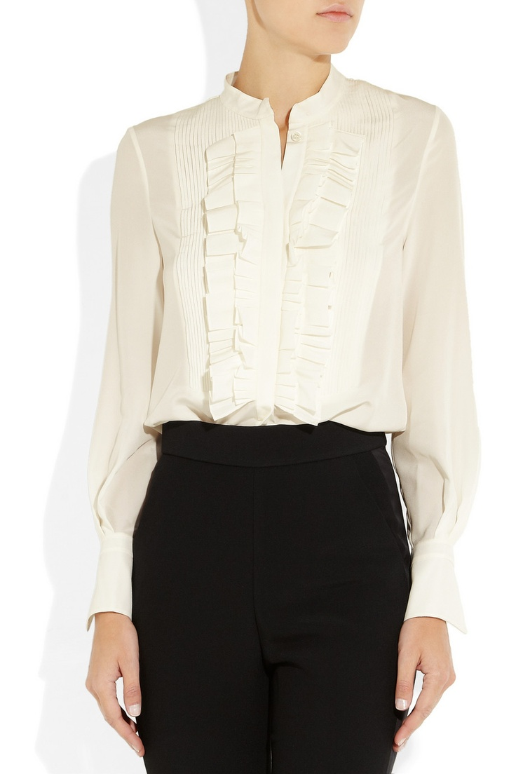 Chloé|Ruffled silk crepe de chine blouse