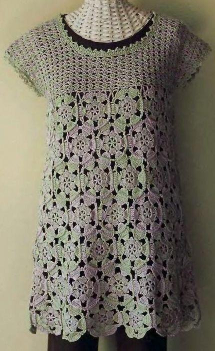 Motif Tunic Top free crochet graph pattern: Patterns Charts, Crochet Dresses, Crochet Tunics Patterns Free, Free Crochet, Crochet Graphs, Crochet Apparel, Tunics Tops, Crochet Clothing, Motif Tunics