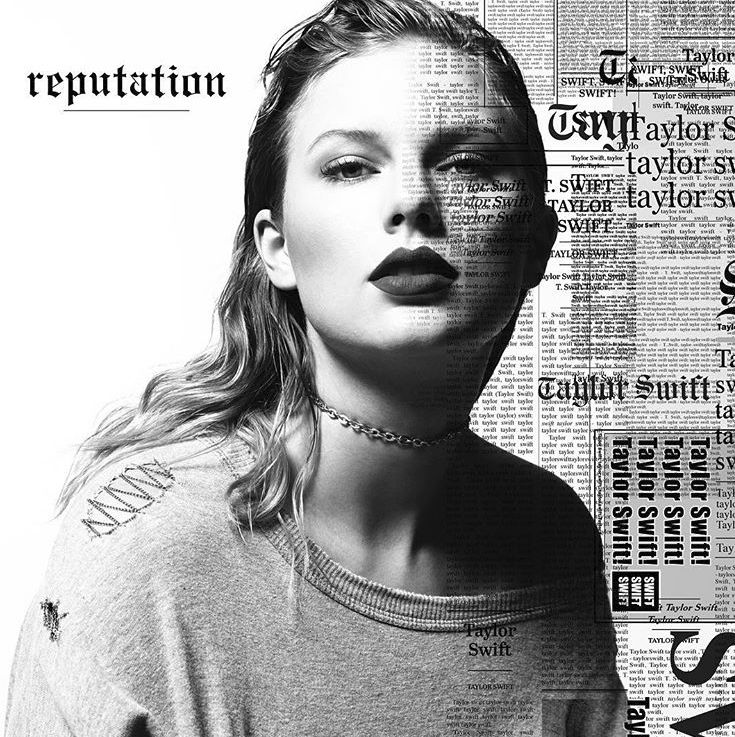 Taylor Swift wearing a coton stone washed sweater by Pinko on her Reputation album cover