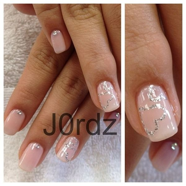 Silver Outline Heart On Pink