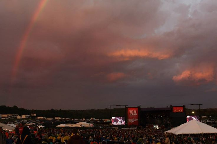 Rainbow over the main stage at Boots and Hearts 2013