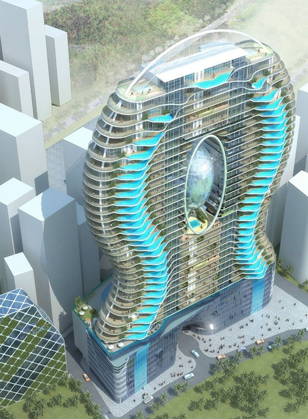 Fluid design captured in glass pool-adorned residential tower.  The Bandra Ohm Residentail Tower imagined by James Law Cybertecture.