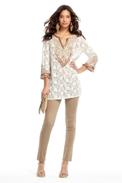 Nicolette Embellished Cotton Lace Tunic