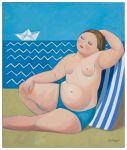 Femme à la plage (variations sur le bain turc d´Ingres) 65 x 54 cm. Huile s/ toile