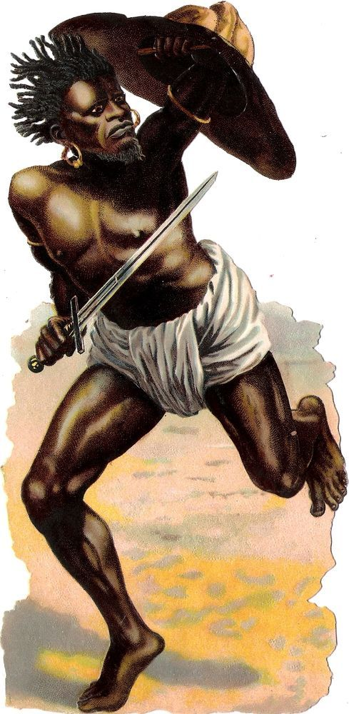 Oblaten Glanzbild scrap die cut chromo Schwarzer XL 20cm Mann black man warrior