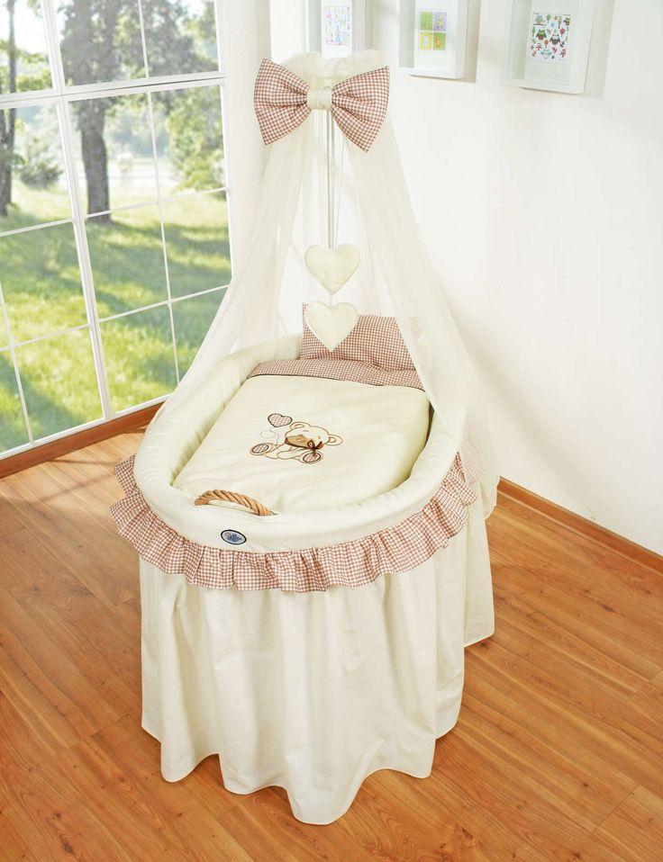 Berceau bébé en osier complet avec textile beige retombant