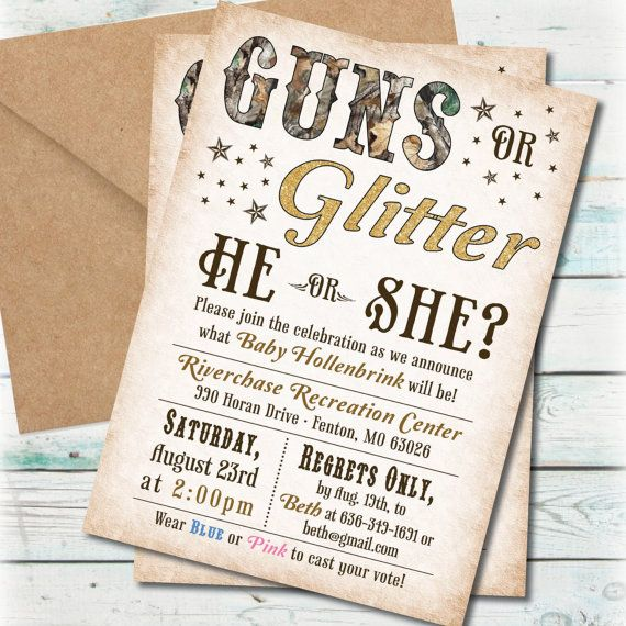 Printable Guns or Glitter Gender Reveal Party by BeyondDigital