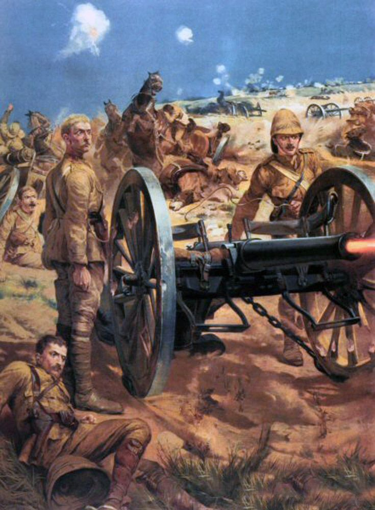 Lt Roberts K.R.R. with Captain Schofield and Congreve, with all their ammunition used, they drew upon the emergency rounds of Case (their last shot) They stood to attention beside the gun and in an instant later fell pierced through by Boer Bullets. Lt Roberts earned his VC.